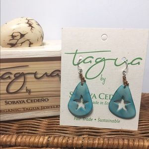 Tagua Nut , Hand Carved Starfish Earrings